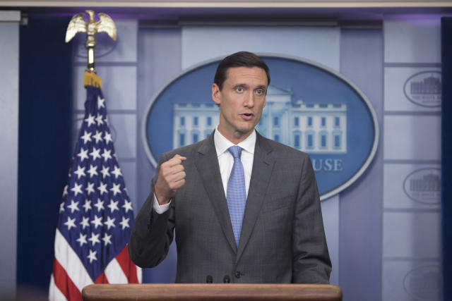 Then Homeland Security Adviser Tom Bossert speaks during a news conference at the White House in Washington, Aug. 25, 2017. (Tom Brenner/The New York Times)