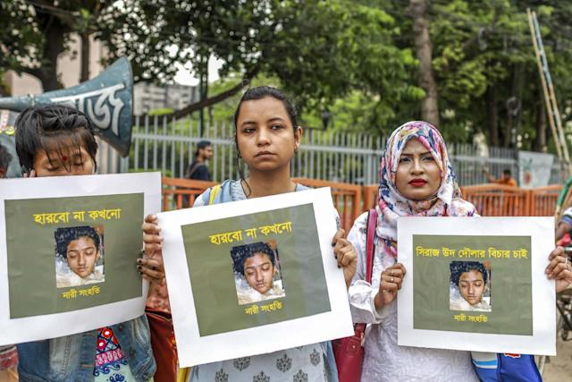 Bangladeshi demand justice for Nusrat Jahan Rafi at a protest in Dhaka, following her violent murder in April. (AFP/Getty Images)