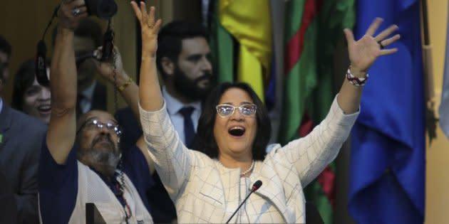 Damares Alves durante a cerimônia de posse no Ministério da Mulher, Família e Direitos Humanos.
