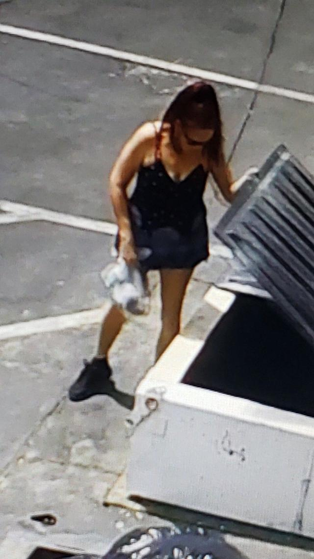 Riverside County Animal Services officials believe this woman left seven puppies in a plastic bag near a trash bin in Coachella on Thursday, April 18, 2019.