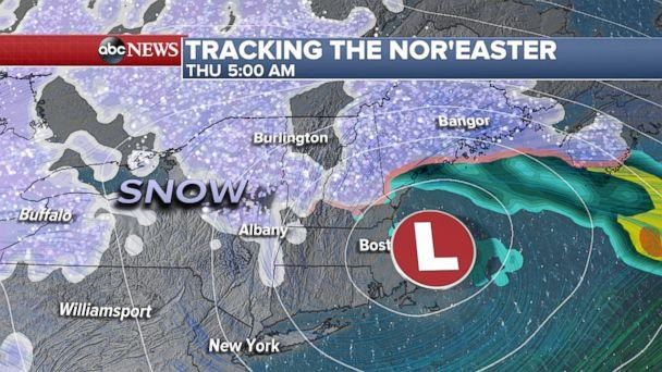 PHOTO: Tracking the nor'easter, Thursday at 5am. (ABC News)