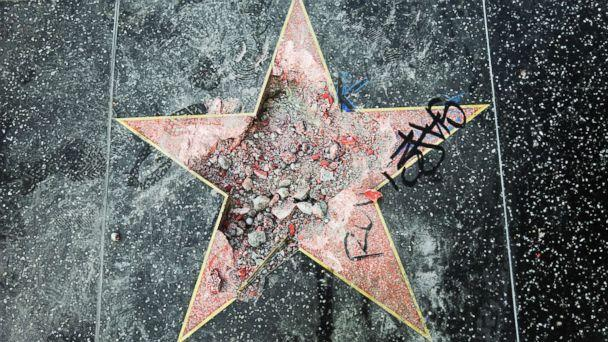 PHOTO: This photo shows Donald Trump's star on the Hollywood Walk of Fame that was vandalized, July 25, 2018, in Los Angeles. (Reed Saxon/AP)