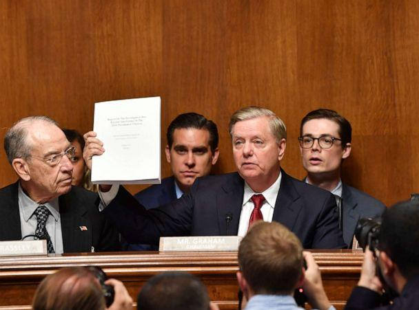 PHOTO: Sen. Lindsey Graham holds the Mueller report as U.S. Attorney General William Barr prepares to testify before the Senate Judiciary Committee in Washington, May 1, 2019. (Nicholas Kamm/AFP/Getty Images)