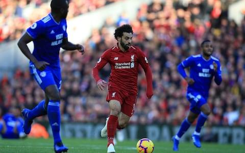 Liverpool versus Cardiff City; Mohamed Salah of Liverpool races through on goal - Credit: David Blunsden/Getty Images