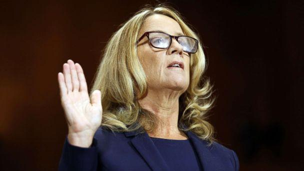 PHOTO: Professor Christine Blasey Ford is sworn in to testify before a Senate Judiciary Committee confirmation hearing for Kavanaugh on Capitol Hill, in Washington, Sept. 27, 2018. (Michael Reynolds/Pool via Reuters)