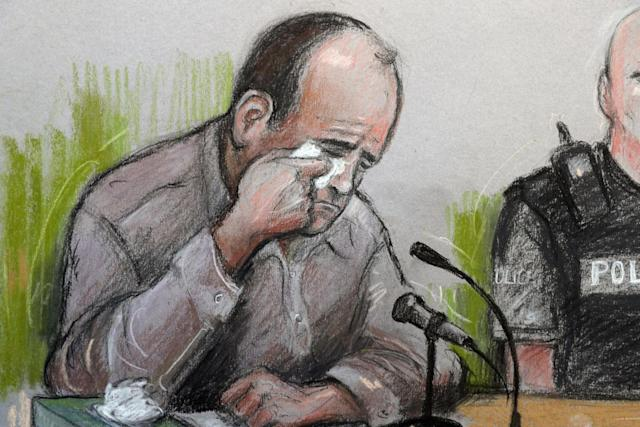 Artist sketch of Poppi Worthington's father Paul Worthington giving evidence at Kendal County Hall in Cumbria (Elizabeth Cook/PA )