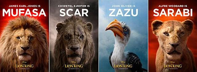 Carteles de Mufasa, Scar, Sazu y Sarabi (Cortesía de Walt Disney)