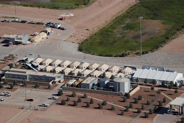Tents used to detain immigrant children, many of whom have been separated from their parents, in Tornillo, Texas, June 18. The U.S. government separated nearly 2,000 children from their parents in April and May after they crossed the border without authorization. (Mike Blake / Reuters)