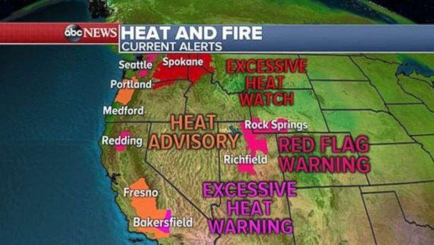 Heat and fire are still a concern across much of the West on Sunday. (ABC News)