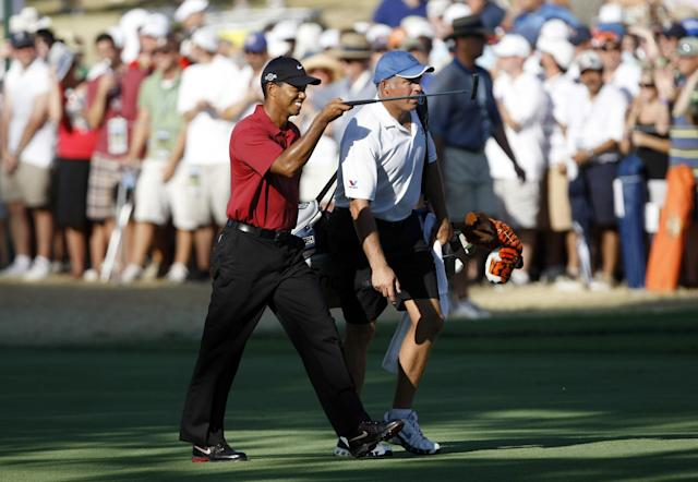 Tiger Woods and Steve Williams at the 2007 PGA Championship.