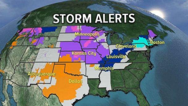 PHOTO: Dozens of states were under storm warnings, advisories and watches on Thursday. (ABC News)