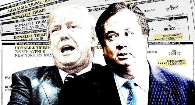 Donald Trump, George Conway and the checks Michael Cohen says were used to pay off Stormy Daniels. (Yahoo News photo Illustration; photos: AP, Getty Images)