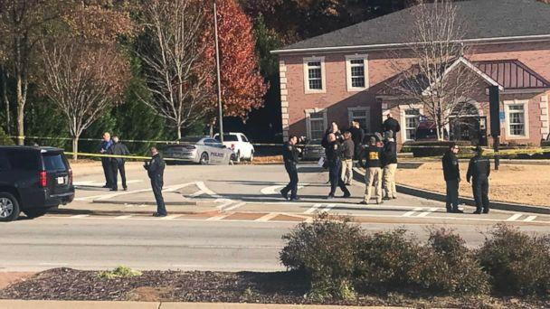 PHOTO: Officials on the scene outside Atlanta, where an officer was shot, Dec. 6, 2018. (WSB)