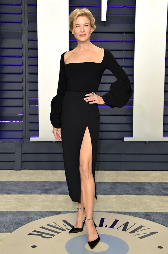 Renee Zellweger in High-Slit Dress for  2019 Vanity Fair Oscar Party