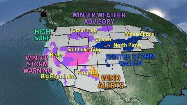 There are 17 states under alerts due to the storms hitting the West on Friday. (ABC News)