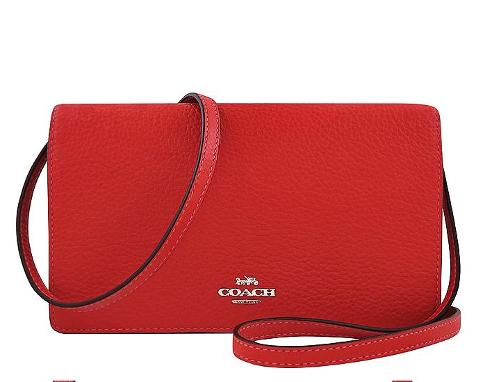 COACH 紅色荔枝紋皮革包