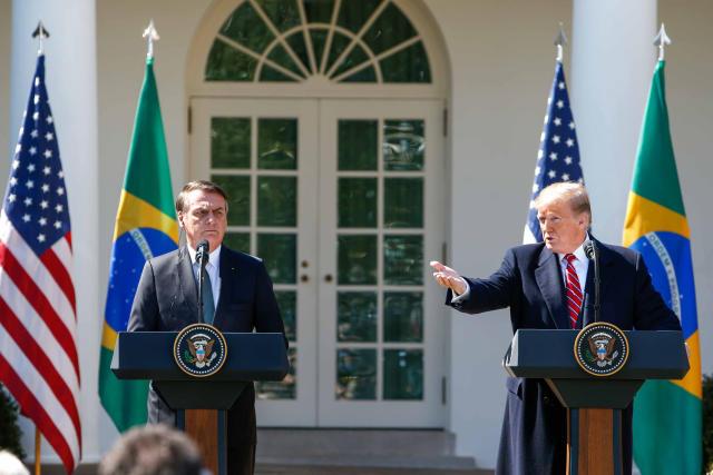 *ARQUIVO* WASHINGTON, EUA, 19.03.2019: presidente dos Estados Unidos, Donald Trump, e o presidente do Brasil, Jair Bolsonaro, durante coletiva na Casa Branca, em Washington. (Foto: Vanessa Carvalho/Brazil Photo Press/Folhapress)
