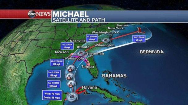 PHOTO: Michael is expected to make landfall on Wednesday and move through the Southeast at the end of the week. (ABC News)