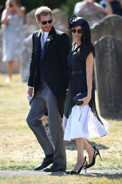 PHOTO: Prince Harry and Duchess Meghan Markle leave the wedding of Charlie Van Straubenzee and Daisy Jenks in Frensham ,U.K., Aug. 4, 2018. (Joe Giddens/PA Wire via ZUMA Press)