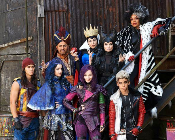 PHOTO: This image from the Disney Channel shows stars of 'Descendants' stars Booboo Stewart, foreground from left, Sofia Carson, Dove Cameron, Cameron Boyce, and background from left, Maz Jobrani, Kathy Najimy, Kristin Chenoweth and Wendy Raquel Robinson. (Bob D'Amico/Disney Channel via AP)