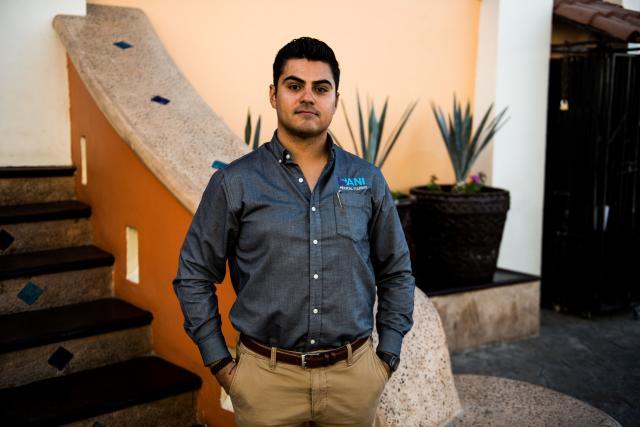 Alejandro Gutiérrez 33, COO of Sani Dental Group in Los Algodones, Baja California, Mexico on Oct. 23, 2019. (Photo: Ash Ponders for HuffPost)