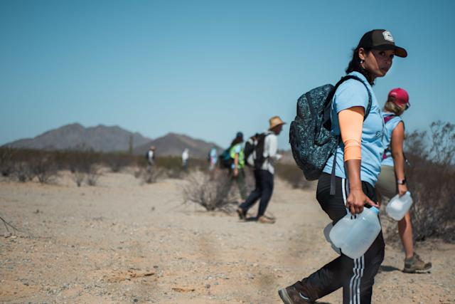 Activists left 125 gallons of water for migrants traveling through the desert. (Ash Ponders)