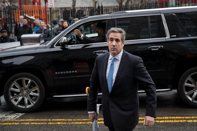 Michael Cohen,a longtime personal lawyer and confidante for President Donald Trump, arrives at the United States District Court Southern District of New York on April 16, 2018, in New York City. (Drew Angerer via Getty Images)