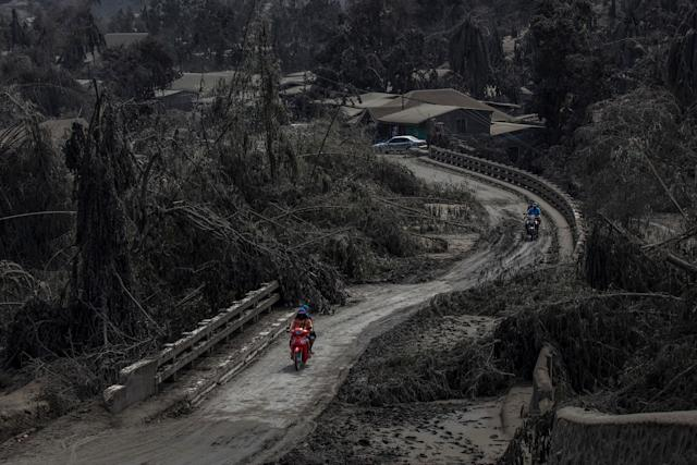 Motorists cross a bridge partially blocked by trees, brought down by ash, in Laurel. | Ezra Acayan—Getty Images
