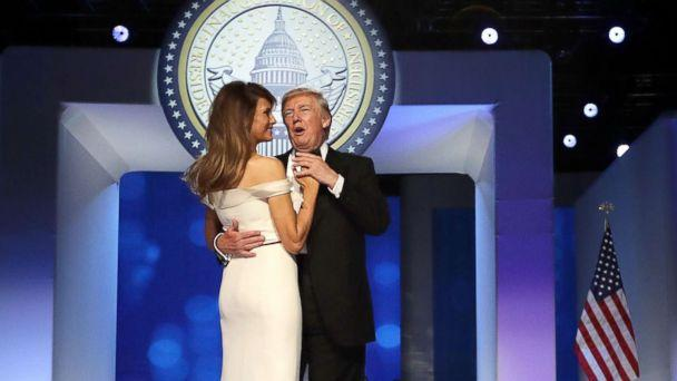 PHOTO: President Donald Trump and first lady Melania Trump dance during the Freedom Ball at the Washington Convention Center Jan. 20, 2017 in Washington. (Chip Somodevilla/Getty Images)