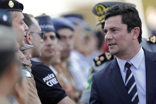 Ministro da Justiça Sergio Moro durante cerimônia em Brasília, julho de 2019. Foto: AP/Eraldo Peres