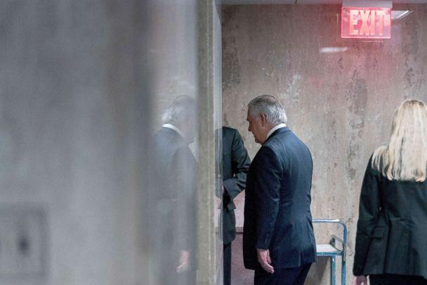 PHOTO: Secretary of State Rex Tillerson walks down a hallway after speaking at a news conference at the State Department in Washington, March 13, 2018. (Andrew Harnik/AP)