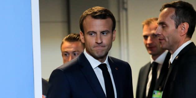 Emmanuel Macron au sommet de l'OTAN à Bruxelles le 12 juillet.