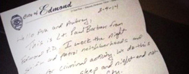 Officer leaves sweet note for scared girls. (KFOR)