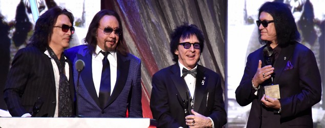(L-R) Paul Stanley, Ace Frehley, Peter Criss and Gene Simmons of KISS at the Rock And Roll Hall Of Fame Induction Ceremony in NYC (Jeff Kravitz/FilmMagic)