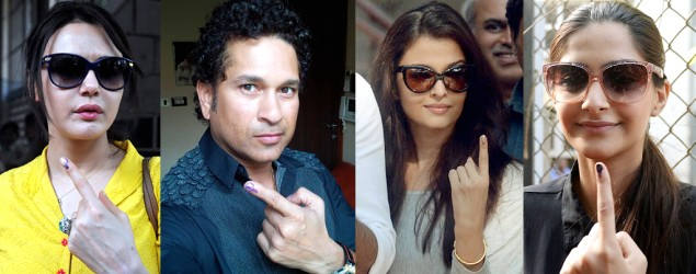 Rajinikanth, Sachin cast votes